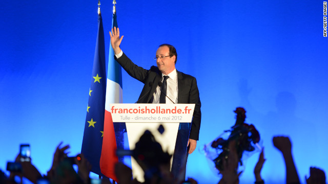 Socialist Party candidate Francois Hollande gives his victory speech in Tule, France, after Sunday's presidential runoff election.