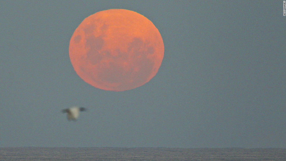 Even if the weather's cloudy on the ground, there will be an unobstructed view once planes climb above the clouds, says Spring Airlines. This supermoon was captured rising over the Pacific in Sydney.