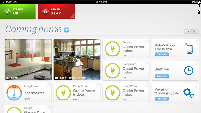 This screenshot shows a menu that would allow users to control AT&T's home-automation system from their tablets.