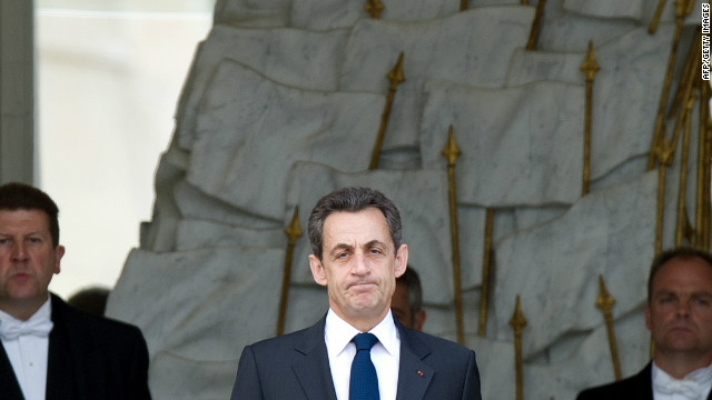 French President Nicolas Sarkozy awaits the Ivorian president on May 7, in Paris, one day after his election defeat.