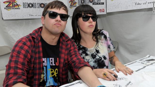 Derek Miller (L) and Alexis Krauss of Sleigh Bells, shown here in 2011.