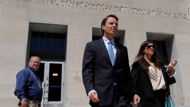 Former Sen. John Edwards and his daughter, Cate, leave the federal courthouse in Greensboro, North Carolina, on April 12.