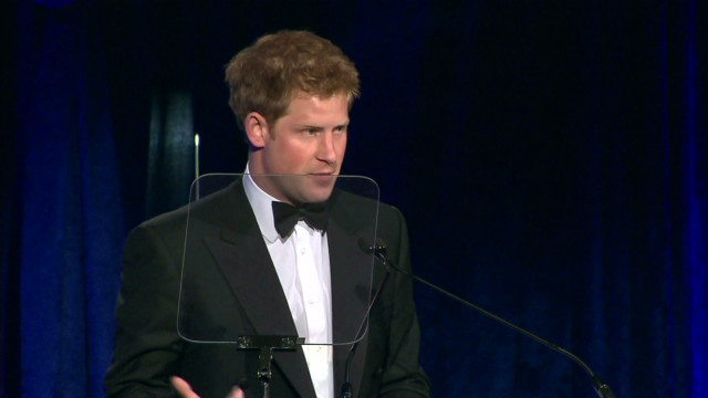 Prince Harry speaks of loss, honors vets