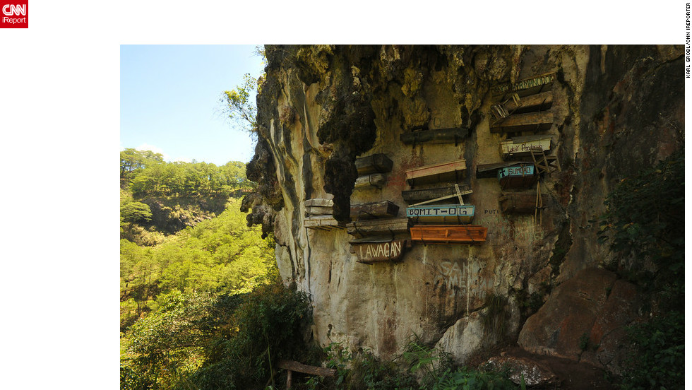 Found in the Cordillera region of the Philippines, the famous hanging coffins on cliffs and caves reflect an ancient funerary custom.  iReporter Karl Grobl explains the belief is that a deceased person's spirit cannot rise to heaven if the body is buried in the ground.