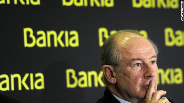 Bankia's Ex-Chairman Rodrigo Rato gives a press conference to announce the 2011 annual results in Madrid on February 10, 2012.