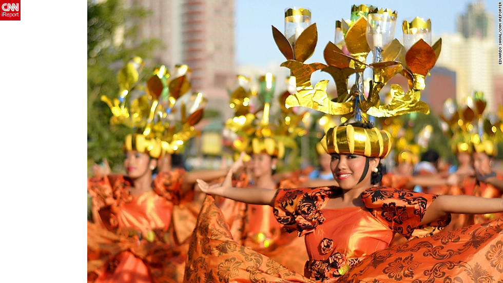 "Dubbed ""The Mother of All Fiestas"", the annual Aliwan Festival held in Manila celebrates cultures from across the Philippines, with regional contingents competing in a street parade, beauty pageant, and float competition. iReporter Eduardo Sawal says it is ""not just an ordinary festival...it's all about showing how religion, culture and traditions enriched and affects the Filipinos' existence today."""