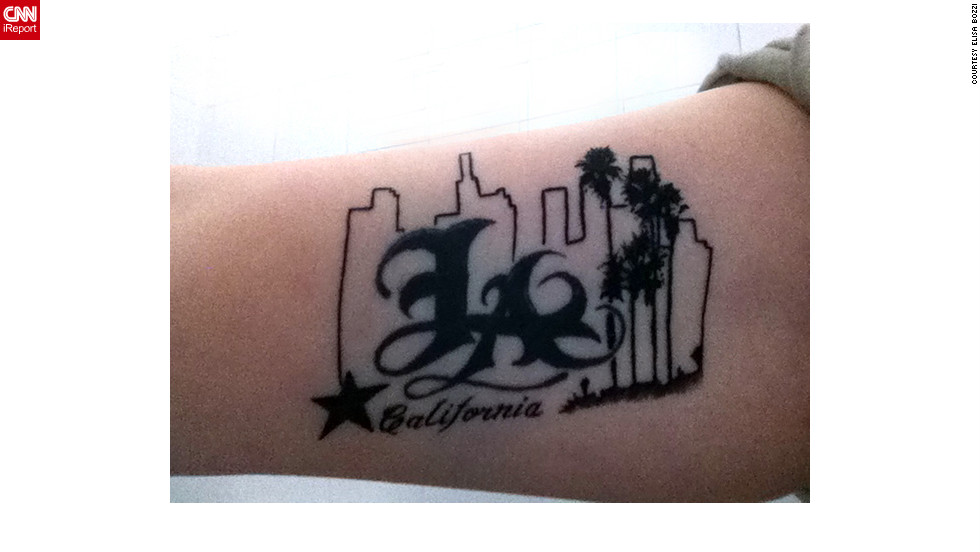 "Elisa Bozzi of Piacenza, Italy, visits Los Angeles every summer. She's committed to the city, as the tattoo on her arm attests. ""I don't know why, but for me it was love at first sight,"" Bozzi wrote. She said she'd like to live in L.A. someday."