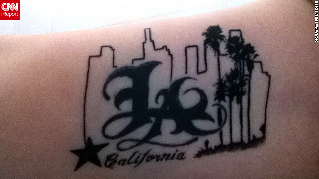 "Elisa Bozzi, of Piacenza, Italy, visits Los Angeles every summer. She's committed to the city, as the tattoo on her arm attests. ""I don't know why, but for me it was love at first sight,"" Bozzi wrote. She said she'd like to live in L.A. someday."