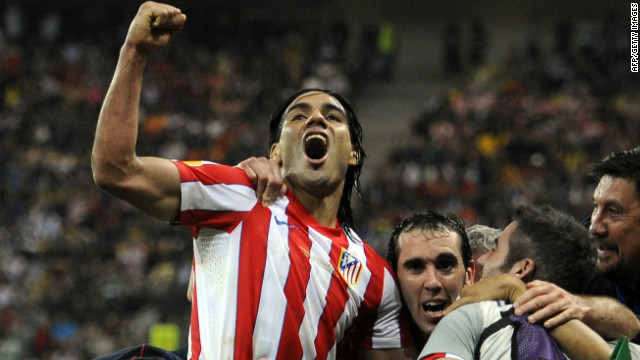 Colombian striker Falcao celebrates after his two goals hand Atletico Madrid victory in the Europa League final.