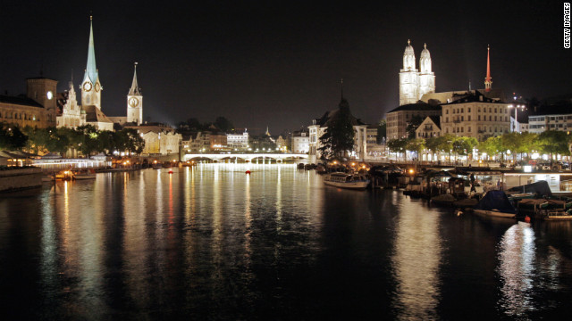Zurich's old town viewed from the Limmat river.