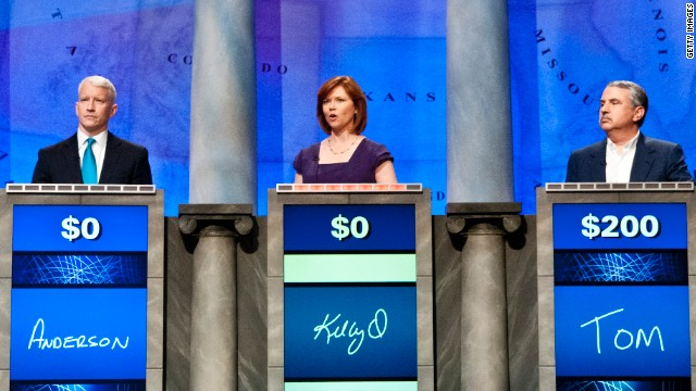 Anderson Cooper, Kelly O'Donnell and Thomas L. Friedman during a rehearsal for Jeopardy! Power Players Week in April.