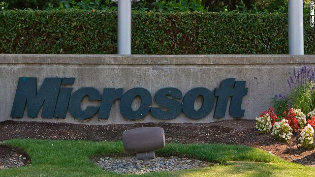 A sign displays the Microsoft logo in front of the company's headquarters on July 29, 2009 in Redmond, Washington.