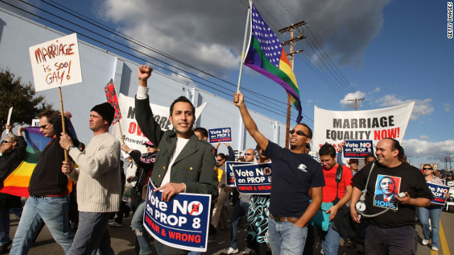 Supporters of same-sex marriage organized by Latino activists march in predominantly Latino neighborhoods in L.A. last year.