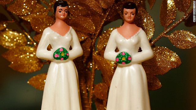 WEST HOLLYWOOD, CA - JUNE 10:  Same-sex wedding cake topper figurines are seen at Cake and Art cake decorators on June 10, 2008 in West Hollywood, California. Business is increasing sharply for local wedding services in the days leading up to the start of legal marriages for gay and lesbian couples on June 17. Same-sex weddings could grow the California wedding industry by $684 million and, over the next three years, add $64 million to the state's budget, a study by the Williams Institute at UCLA's law school reports. The California Supreme Court refused to stay its decision legalizing same-sex marriage despite calls by conservative and religious opponents for the court to stop same-sex couples from marrying before an initiative to amend the state constitution to ban gay marriage goes to ballot in November.  (Photo by David McNew/Getty Images)