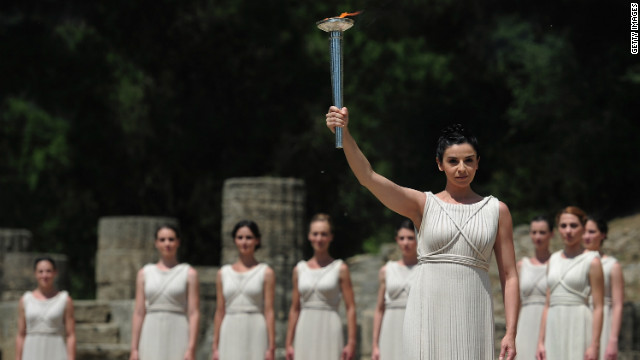 London's Olympic torch lit in Greece