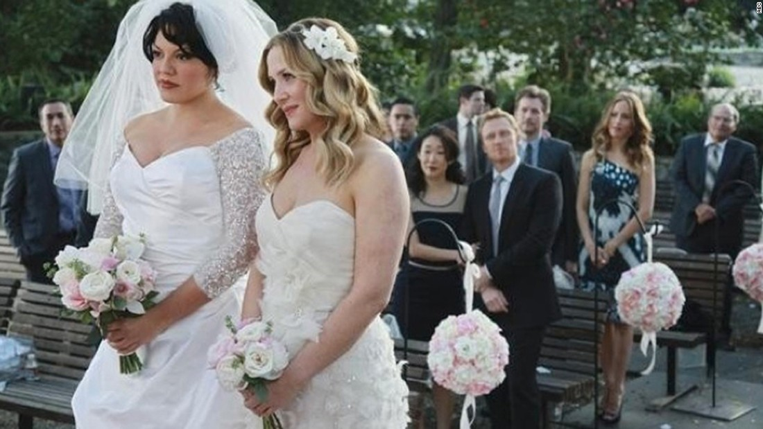 """Dr. Callie Torres (Sarah Ramirez, left) and Dr. Arizona Robbins (Jessica Capshaw) were married during the  seventh season of """"Grey's Anatomy"""" in 2011. The pair also had a baby girl they shared with her father, Dr. Mark Sloan (Eric Dane)."""