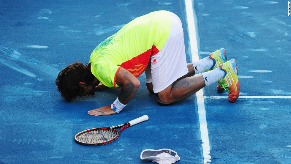 "Fernando Verdasco kisses the blue clay in Madrid after beating world No. 2 Rafael Nadal in a huge upset. ""I never was in control of the match, I didn't know how to win a point,"" said Nadal, who is the modern era's ""King of Clay."""