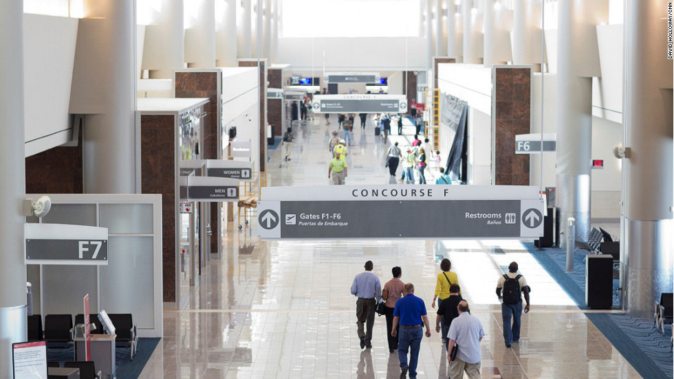 The 1.2 million-square-foot terminal and concourse facility has 12 new gates and connects to Concourse E to create a 40-gate international complex. Volunteers visited the new terminal on May 2 to help airport officials test security and departure and arrival procedures.