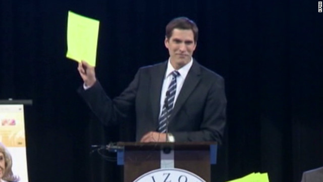 Mitt Romney's son booed off stage