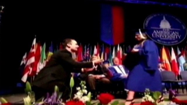 Woman graduates, gets engaged same day