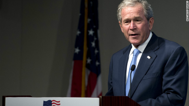 Former U.S. President George W. Bush speaks Tuesday during a Washington event celebrating the success of dissidents and activists around the world.