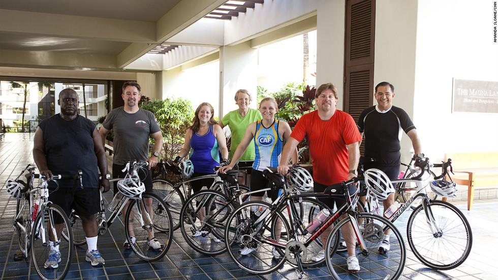 "The ""Lucky 7"" strike a pose after a training ride. From left: Glenn Keller, Rick Morris, Adrienne LaGier, Nancy Klinger, Denise Castelli, Jeff Dauler and Carlos Solis."