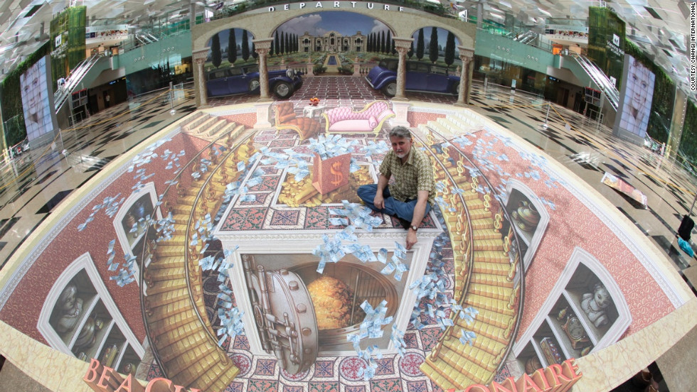 Meanwhile, artist Kurt Wenner's mesmeric optical illusions make the rush between connections a little more colorful.