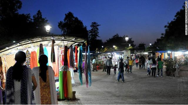 Dilli Haat market at night