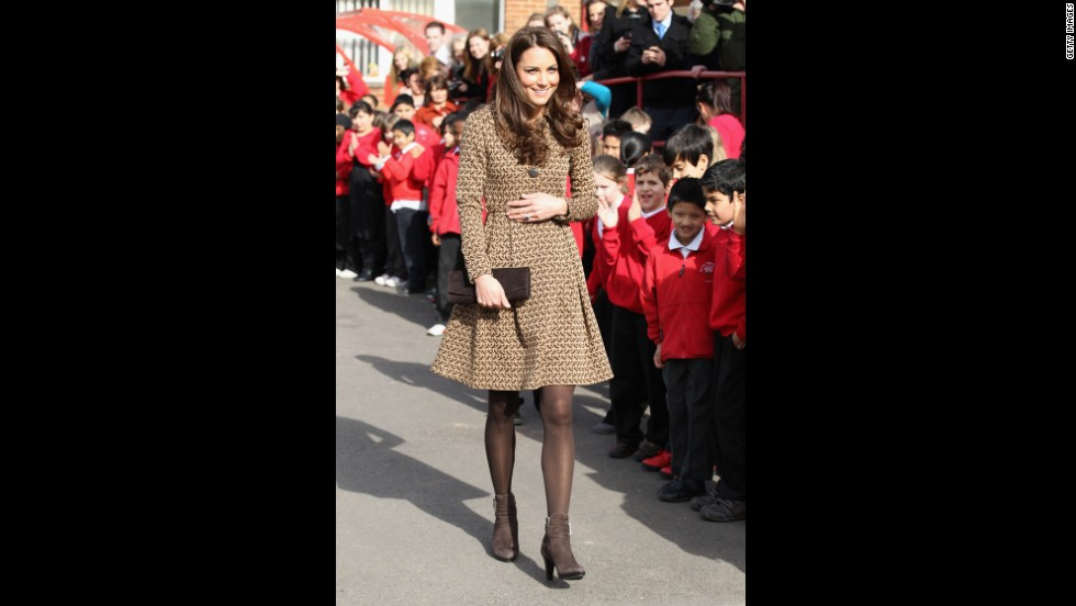 "Kate wore a printed Orla Kiely coatdress while visiting Rose Hill Primary School in Oxford. That day,<a href=""http://www.luckymag.com/blogs/luckyrightnow/2012/02/Kate-Middletons-Printed-Orla-Kiely-Coat-Four-Similar-Options-You-Can-Buy-Right-Now#slide=1"" target=""_blank""> Lucky magazine</a> reported that the jacket had already sold out in stores and online."
