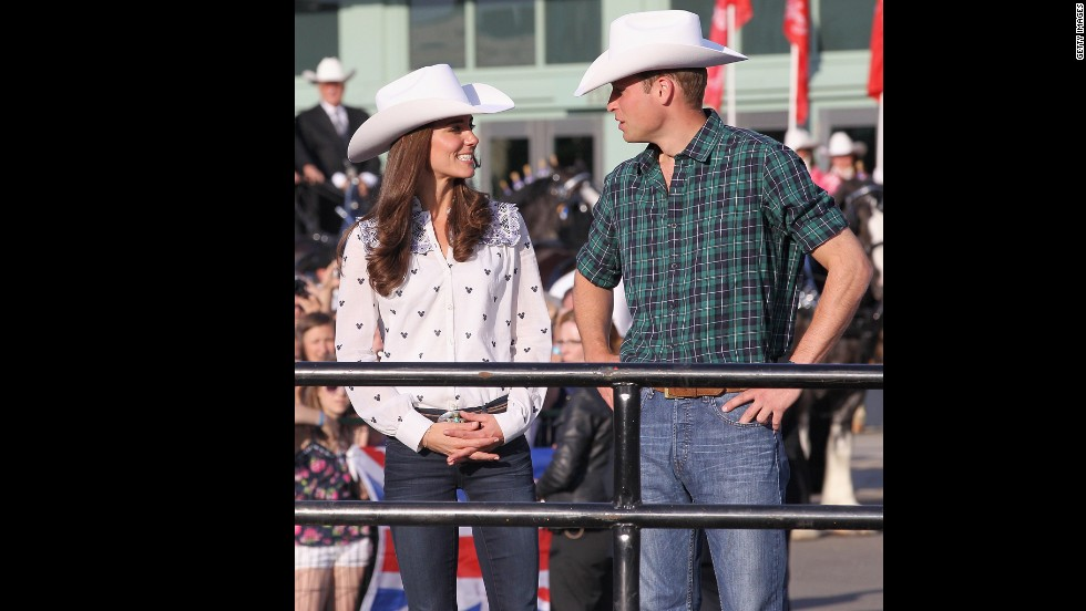 On one of the first stops on Will and Kate's Canadian tour, the couple watched a rodeo demonstration in Calgary on July 7 2011.