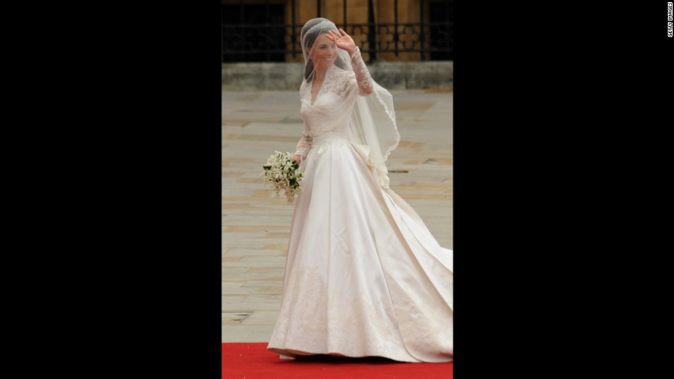Last but not least is Kate's stunning wedding dress. She wore the gown by Alexander McQueen designer Sarah Burton when she married William on April 29, 2011.