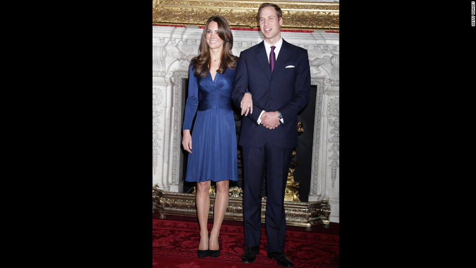 Will and Kate posed for photographs after announcing their engagement in November 2010.