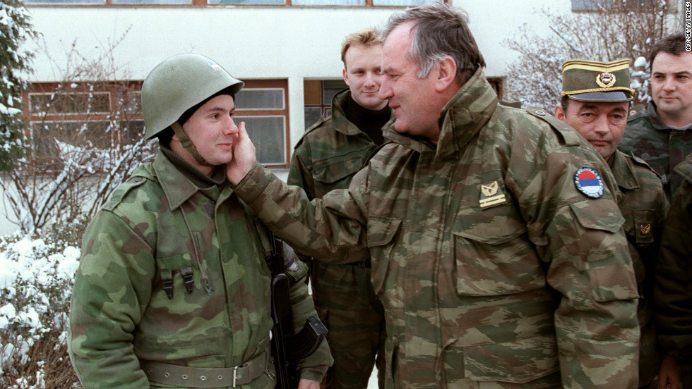 Ratko Mladic talks to a Serbian soldier on February 15, 1994 at  Lukavica barracks near Sarajevo six days before the NATO ultimatum.