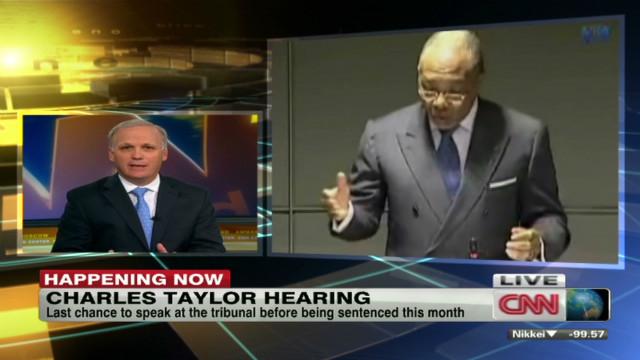 Charles Taylor speaks before war court