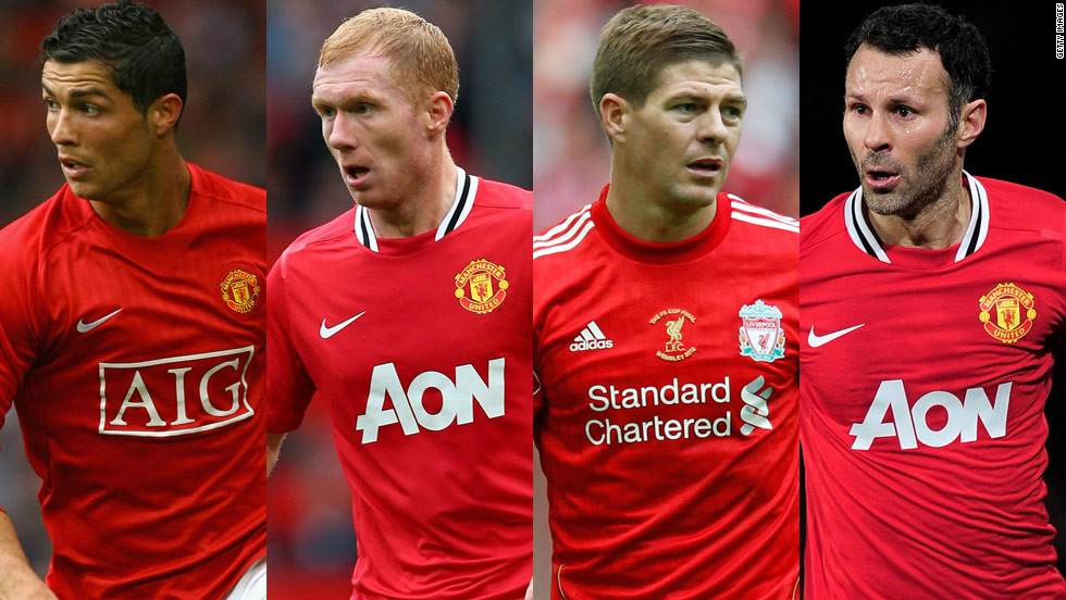 The midfield also features veteran Manchester United stars Giggs and Paul Scholes, who recently announced he will continue to play next season. Former United winger and current Real Madrid icon Cristiano Ronaldo is selected, with Liverpool captain Steven Gerrard completing the quartet.