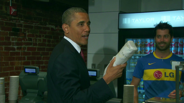 Obama small business pitch over hoagies