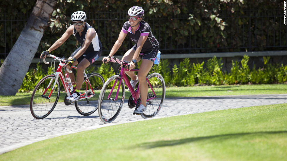 Gupta and Burkey enjoy an additional bike ride at the Mauna Lani Bay Resort in Hawaii.