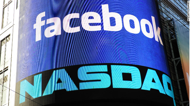 A sign welcoming Facebook is flashed on a screen outside the NASDAQ stock exchange at Times Square in New York.