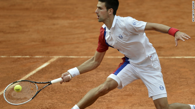 Novak Djokovic plays a return during his straight sets win over Jo-Wilfried Tsonga in the Rome quarterfinals.