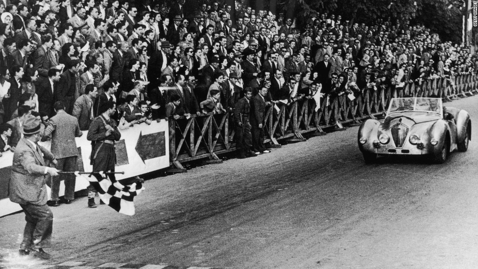 The race began in 1927, with entrants of varying levels of ability taking up the challenge in pursuit of glory. This picture shows British driver Geoffrey Healey taking victory at Brescia in 1949.