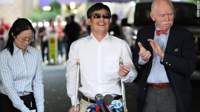 Chen Guangcheng with NYU professor Jerome Cohen