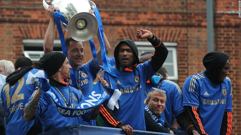 Chelsea captain John Terry was suspended for the final but lifted the trophy in Munich and was center of the celebrations again on the parade