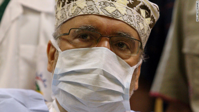 A file photo taken on September 9, 2009, shows freed Lockerbie bomber Abdelbaset Ali Mohmet al-Megrahi at a hospital in Tripoli. The head of the FBI and Scotland's top prosecutor have visited Libya to assess the ongoing investigation into the 1988 Lockerbie airliner bombing, Scottish officials said on May 2, 2012. Scottish and US authorities hope that the removal of Moamer Kadhafi's four-decade-long regime will allow investigators to find fresh leads in the probe into the bombing of a Pan Am jet over Lockerbie, Scotland, which killed 270 people. Megrahi, the only person convicted of the bombing, was released from a Scottish jail on compassionate grounds in August 2009 and allowed to return to Libya.