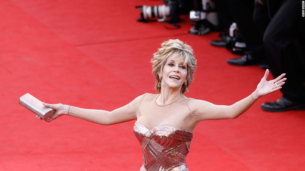 "Jane Fonda attends the ""Moonrise Kingdom"" premiere. At 74, the actress wowed the crowds in a stunning Versace gown."