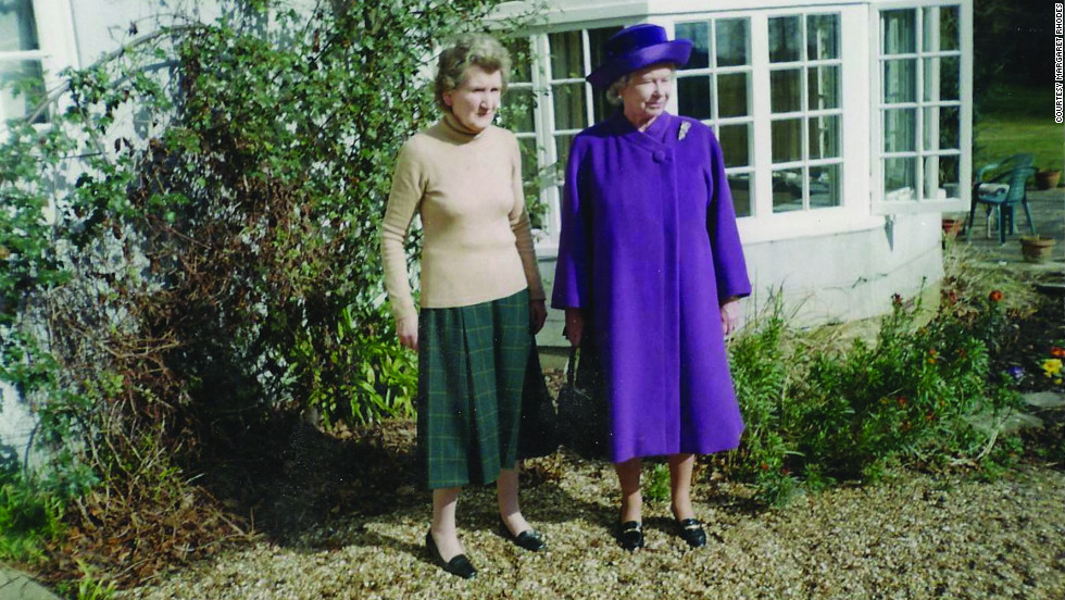 Rhodes was also one of the queen's bridesmaids. The pair are pictured at Garden House, Rhodes' home in Windsor, England.
