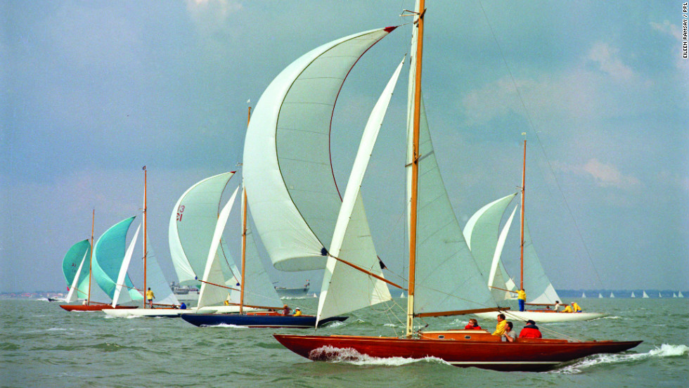 "Ramsay, who spent her early career doing portrait photography, says she somehow always knew how to successfully compose photograps. Here she lines up a number of ""International Dragon"" boats, racing during the 1966 Cowes Week Regatta in England."