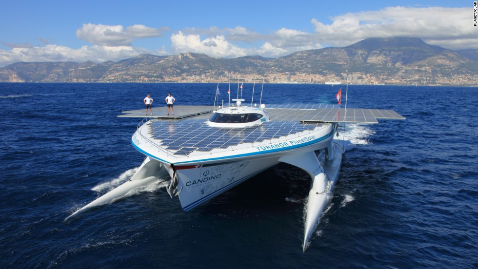 "The ""MS Turanor"" is the first solar-powered vessel to complete a full circumnavigation of the globe."