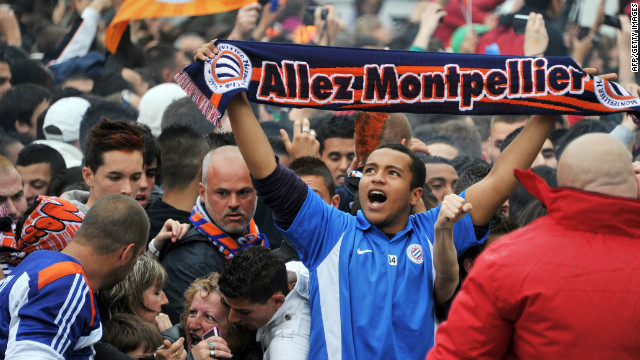 Fans celebrate Montpellier winning the French league, the first time the team has ever won the title.