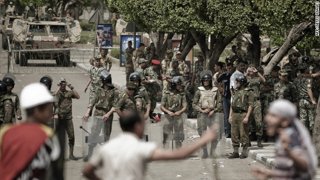 Egyptian protesters confronting army troops outside the Defense Ministry in Cairo's Abbassiya district on May 4.