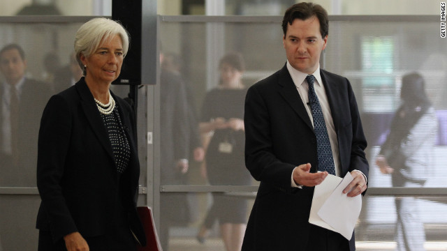 IMF managing director, Christine Lagarde, and British chancellor, George Osborne, at Tuesday's press conference.